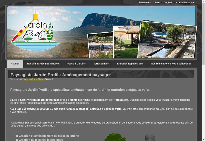 Capture d'écran du site de Jardin Profil