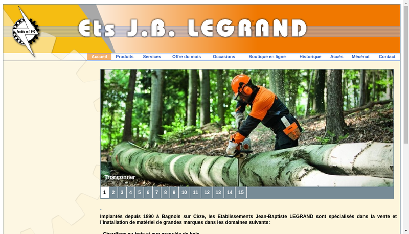 Capture d'écran du site de Etablissements JB Legrand