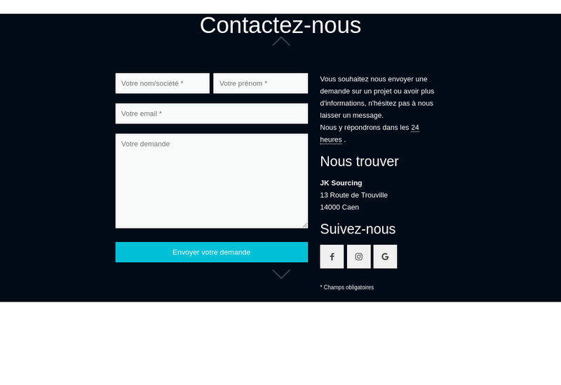 Capture d'écran du site de Jk Sourcing