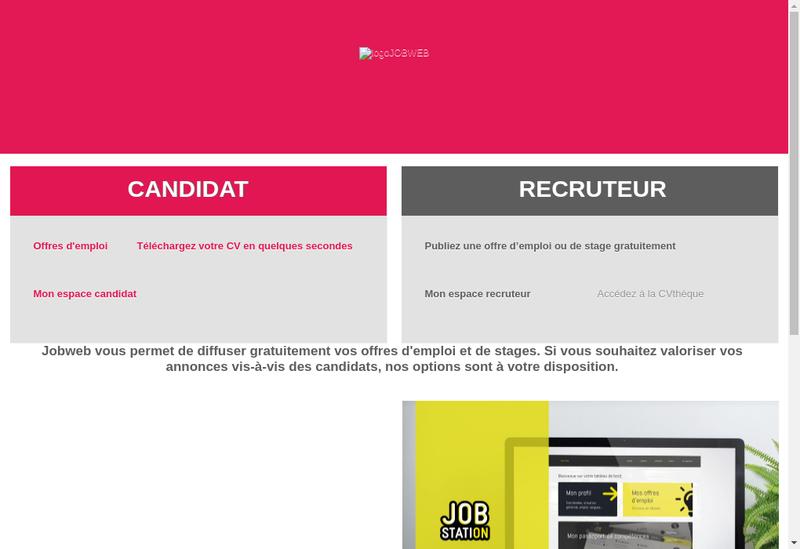 Capture d'écran du site de Jobweb