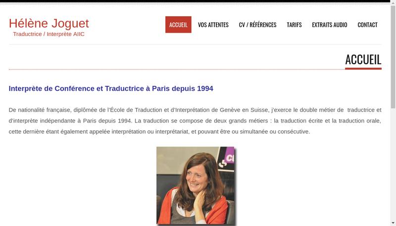 Capture d'écran du site de Helene Joguet