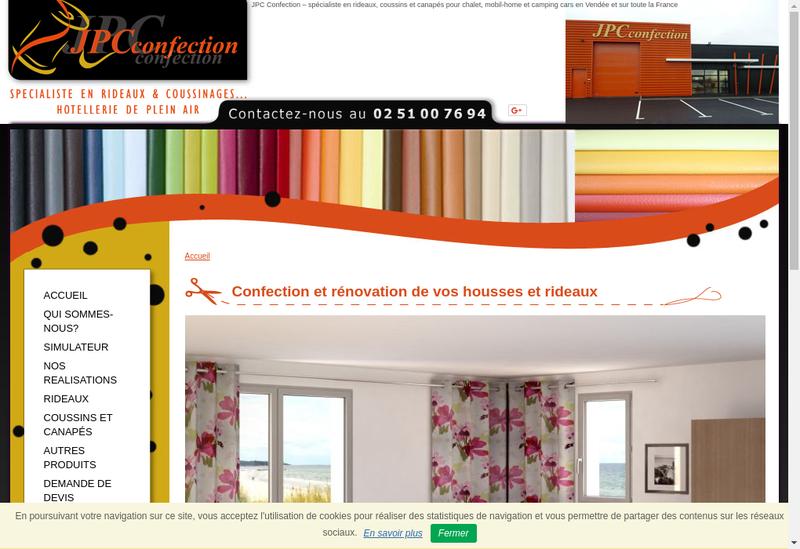 Capture d'écran du site de Jpc Confection