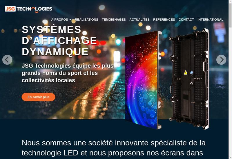 Capture d'écran du site de JSG Technologies