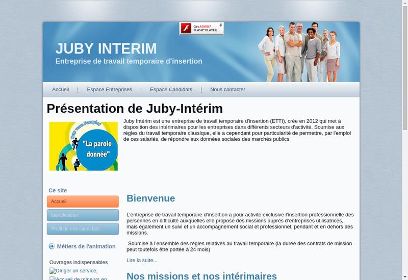 Capture d'écran du site de Juby Interim