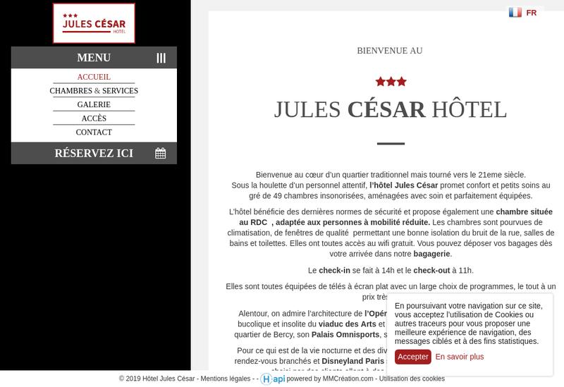 Capture d'écran du site de Societe Jules Cesar Hotel