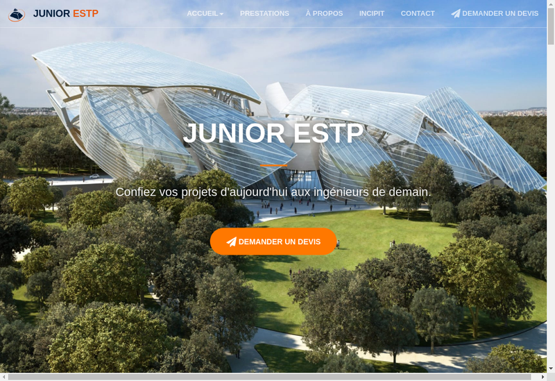 Capture d'écran du site de Junior Estp