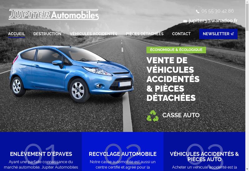 Capture d'écran du site de SARL Jupiter Automobiles