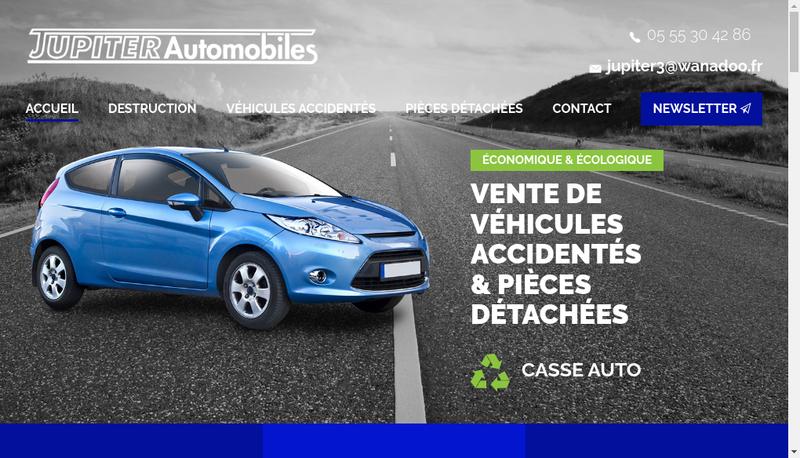 Capture d'écran du site de Jupiter Automobiles