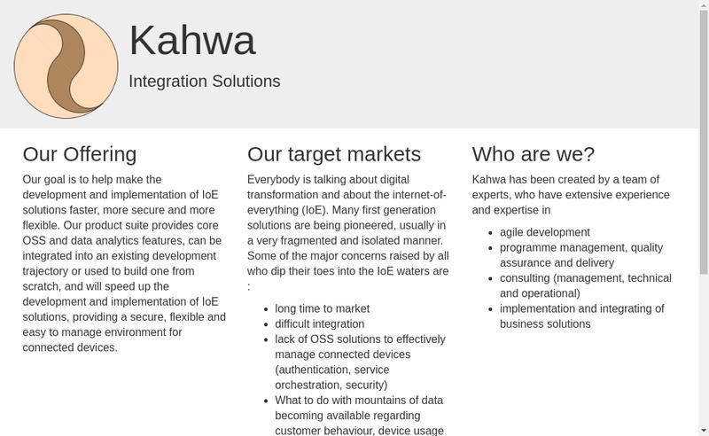 Capture d'écran du site de Kahwa