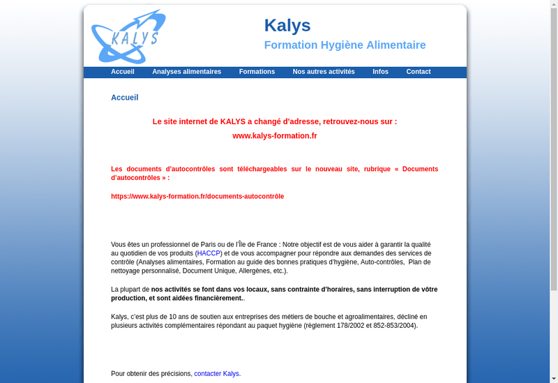 Capture d'écran du site de Kalys