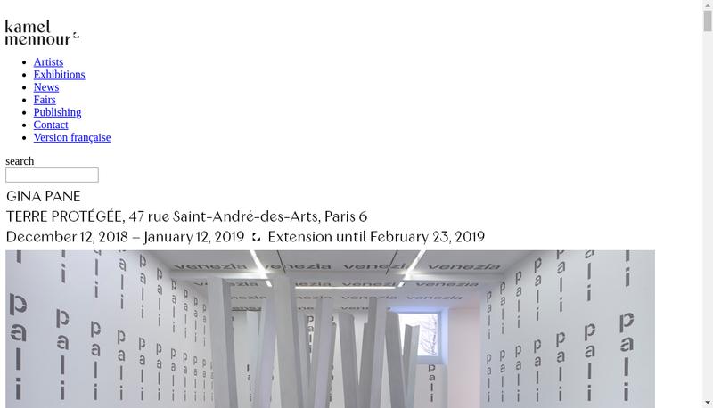 Capture d'écran du site de Galerie Kamel Mennour
