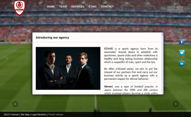 Capture d'écran du site de Kemari