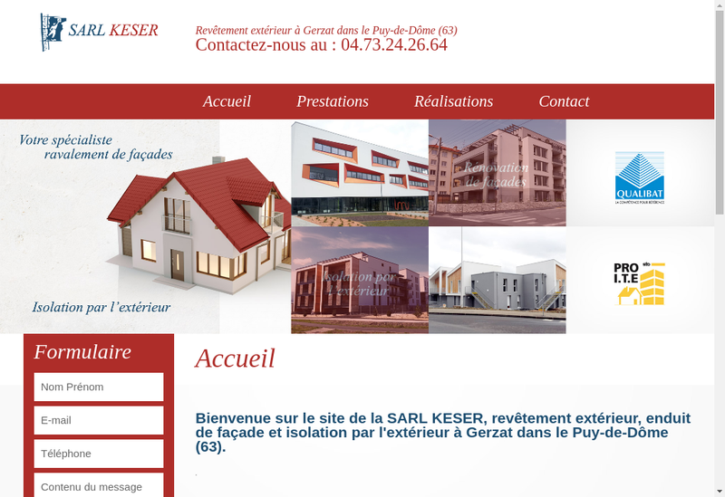 Capture d'écran du site de SARL Keser