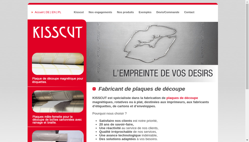 Capture d'écran du site de Kisscut
