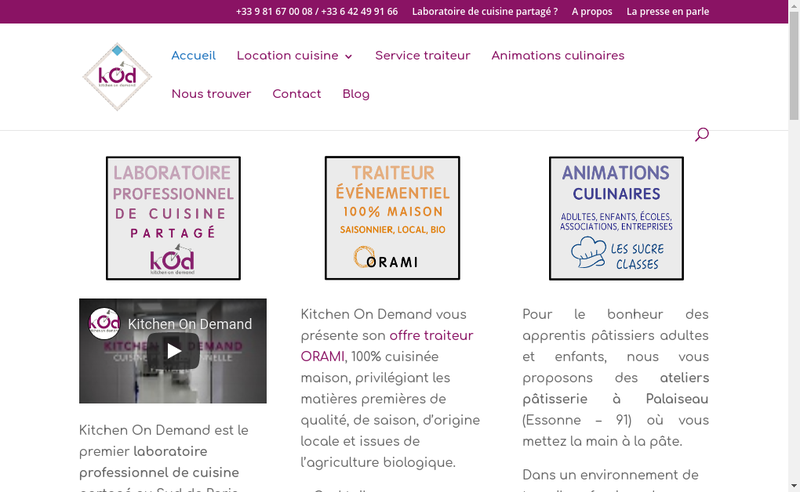 Capture d'écran du site de Kitchen On Demand
