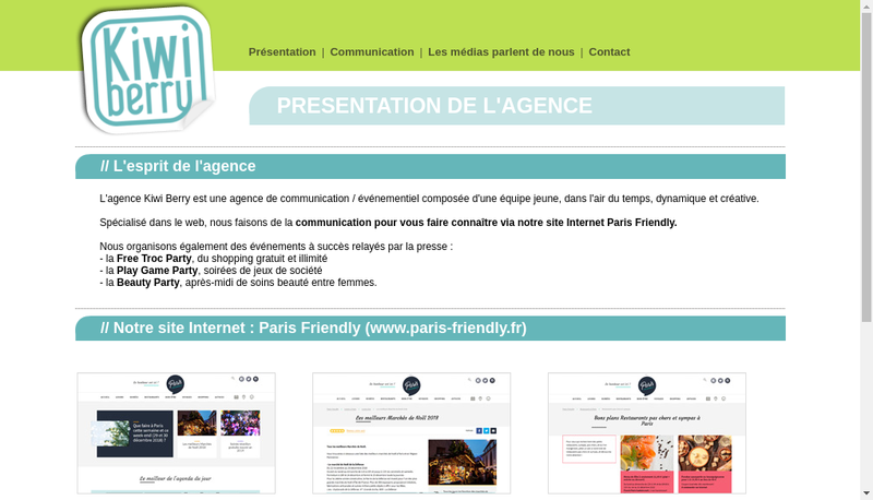 Site internet de Kiwi Berry