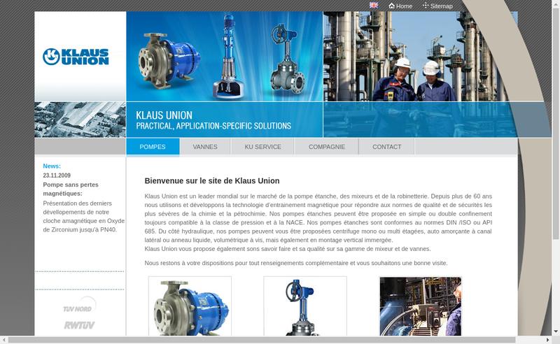Capture d'écran du site de Klaus Union SARL