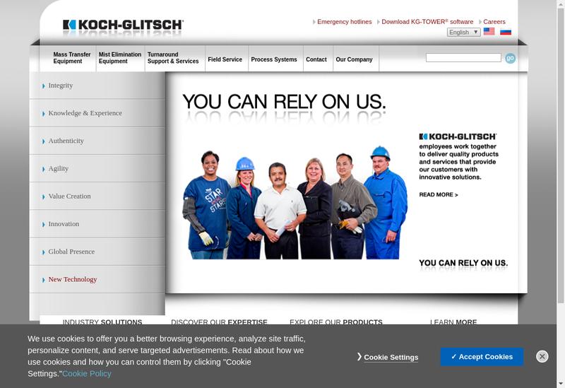 Capture d'écran du site de Koch Glitsch France