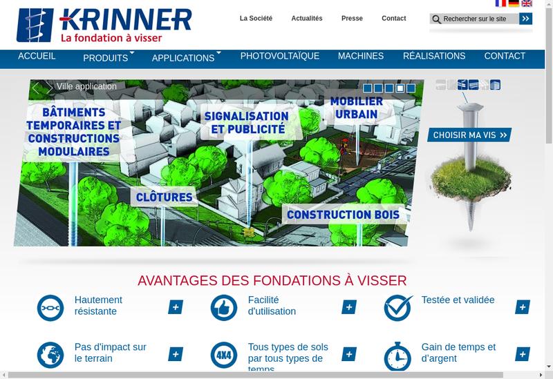Capture d'écran du site de Krinner