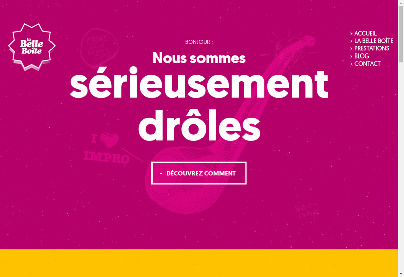 Capture d'écran du site de La Belle Boite Management