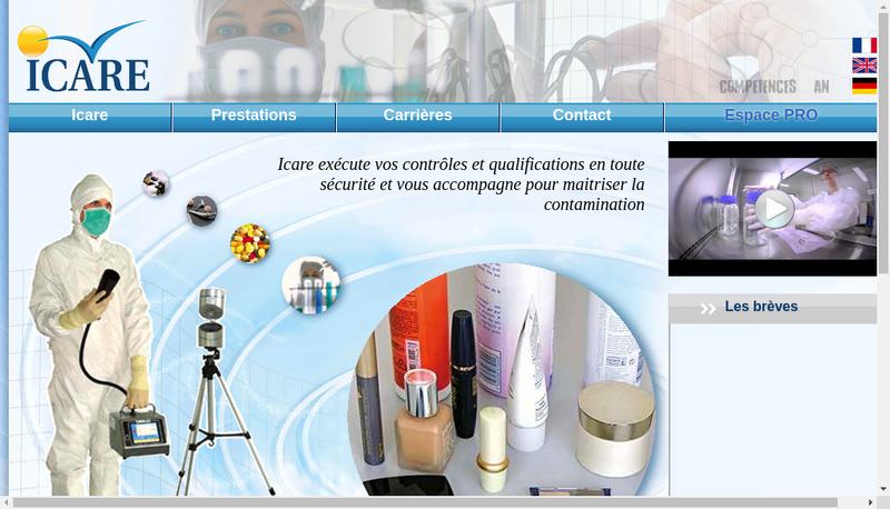 Capture d'écran du site de Laboratoire Icare