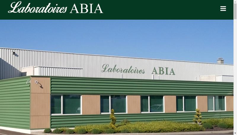 Capture d'écran du site de Laboratoires Abia SAS