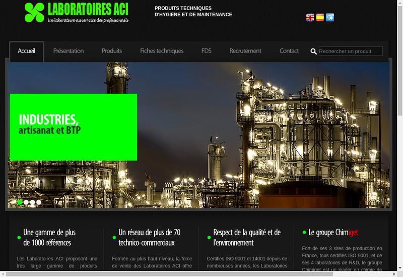 Capture d'écran du site de Iget Chimie