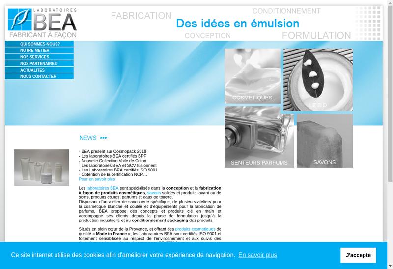 Capture d'écran du site de Laboratoires Bea