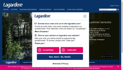 Site internet de Lagardere Thematiques