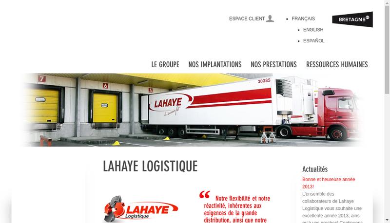 Capture d'écran du site de Lahaye Logistique