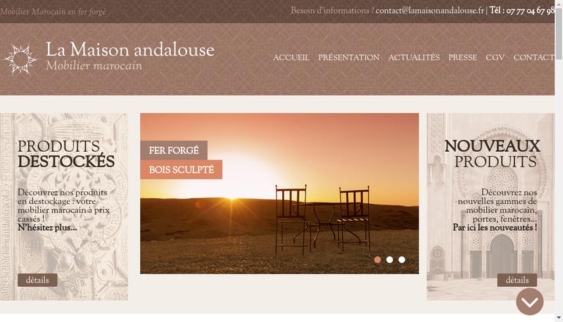 Capture d'écran du site de La Maison Andalouse