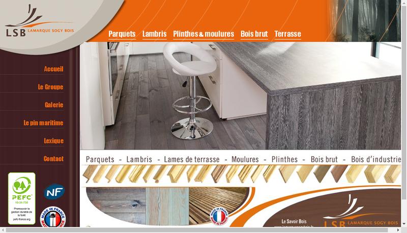 Capture d'écran du site de Lamarque Sogy Bois