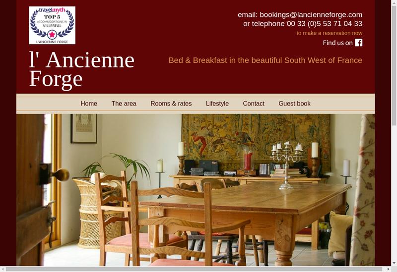 Capture d'écran du site de L'Ancienne Forge