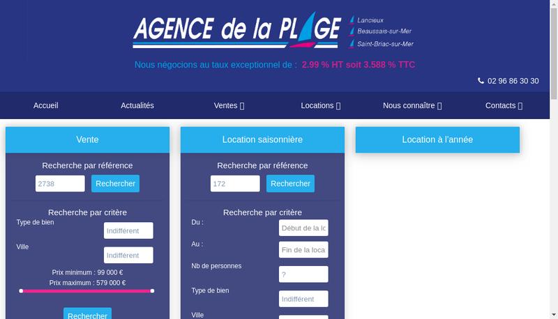 Capture d'écran du site de Agence de la Plage