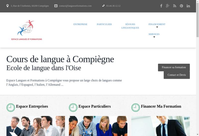 Capture d'écran du site de Espace Langues et Formations