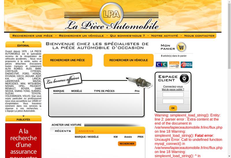 Capture d'écran du site de Societe la Piece Automobile