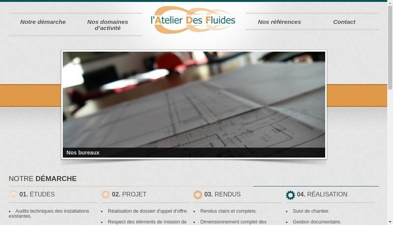 Capture d'écran du site de L'Atelier des Fluides