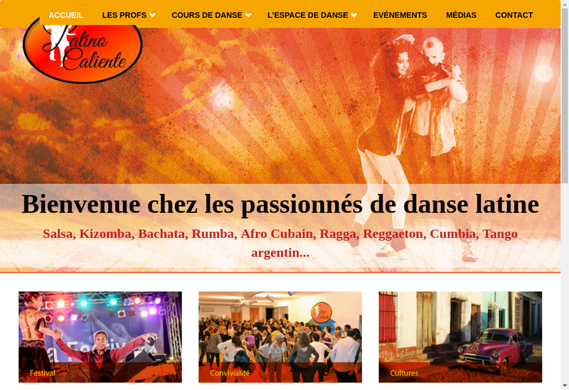Capture d'écran du site de Latino Caliente