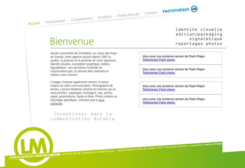 Capture d'écran du site de Laurent Madelon
