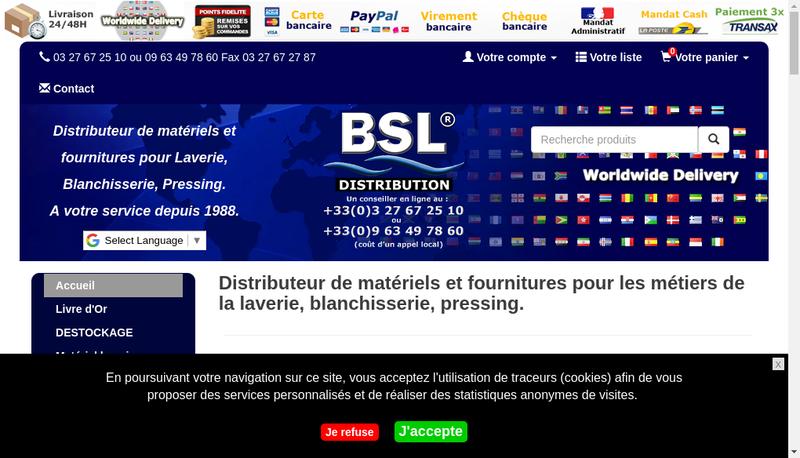 Capture d'écran du site de Bsl Distribution