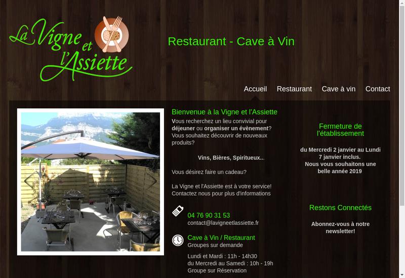 Capture d'écran du site de La Vigne et l'Assiette