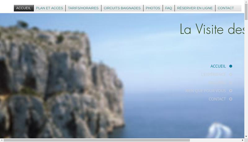 Capture d'écran du site de La Visite des Calanques