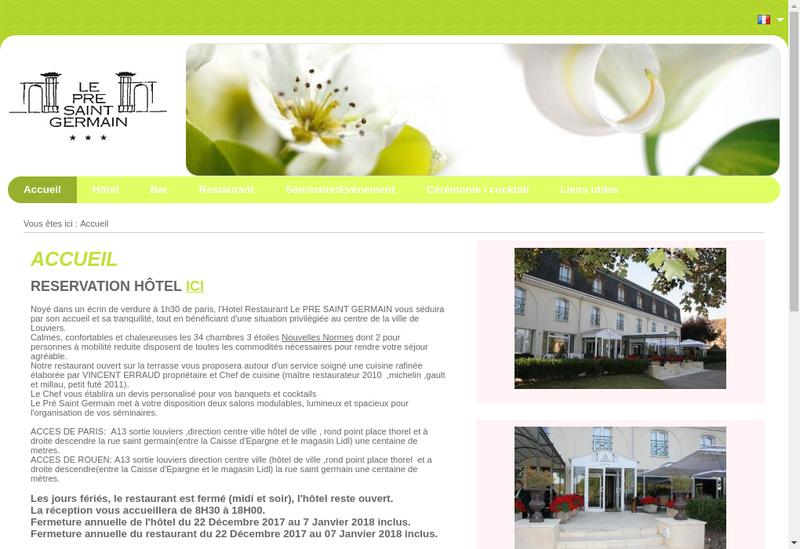 Capture d'écran du site de Pre Saint Germain