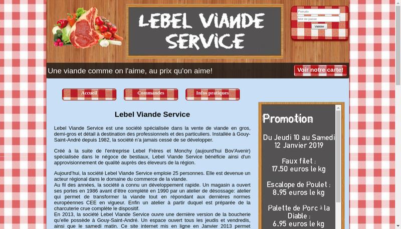 Capture d'écran du site de Lebel Viandes Service