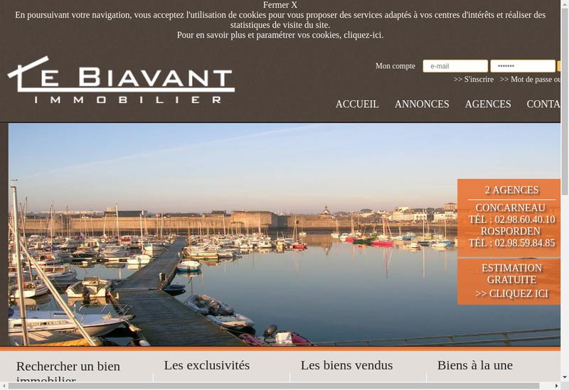 Capture d'écran du site de EURL le Biavant Immobilier