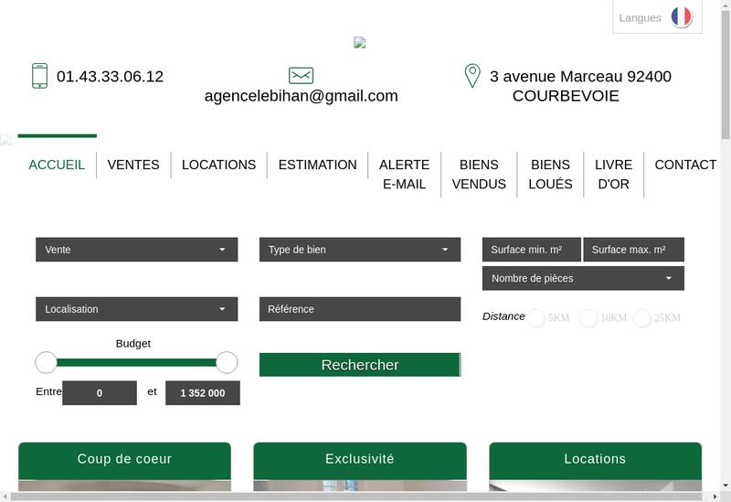 Capture d'écran du site de Agence le Bihan