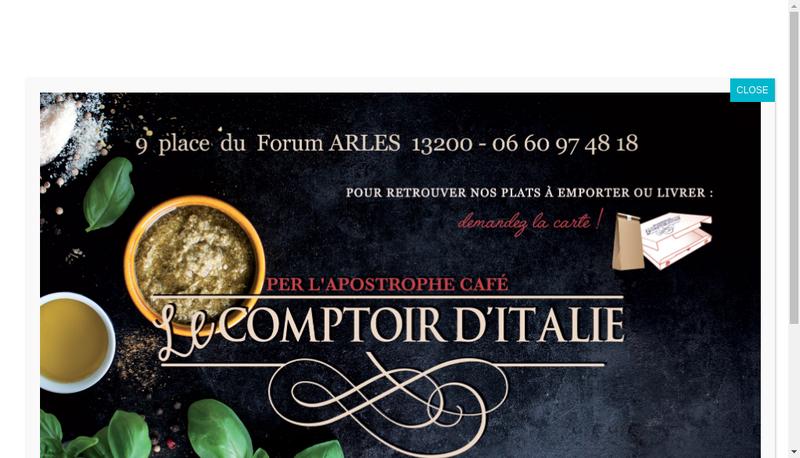 Capture d'écran du site de Le Comptoir d'Italie