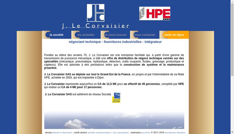 Capture d'écran du site de J le Corvaisier