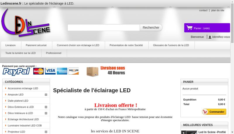 Capture d'écran du site de Led In Scene