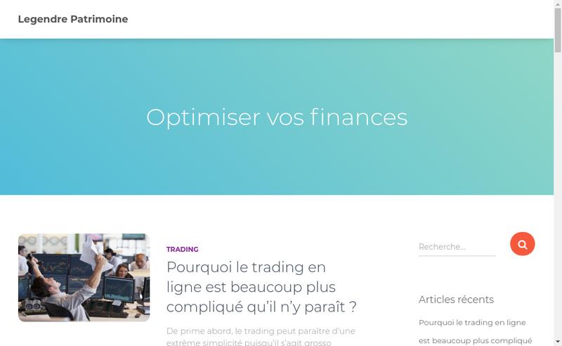 Capture d'écran du site de Legendre Patrimoine